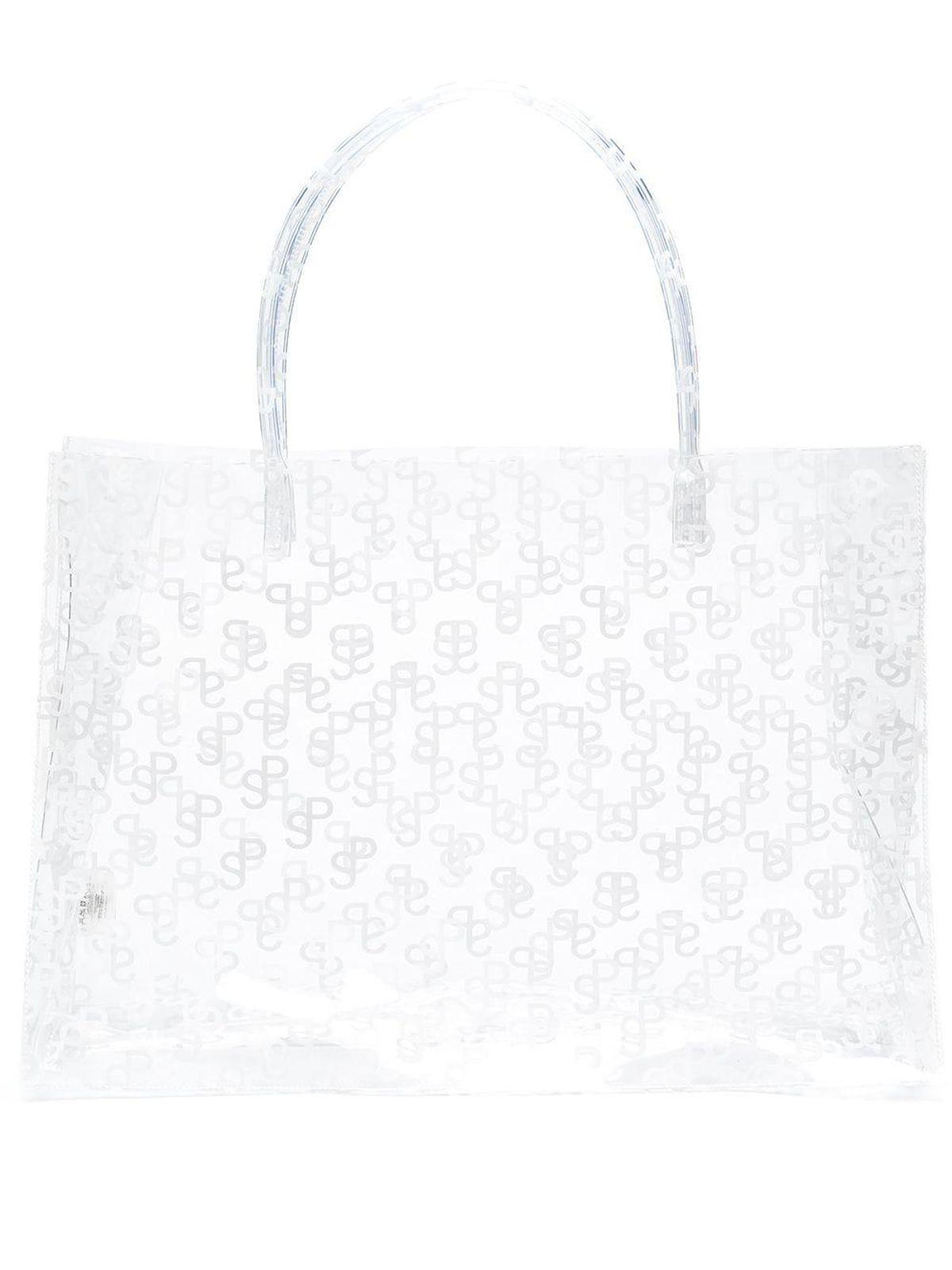 saks potts large logo print shopping bag