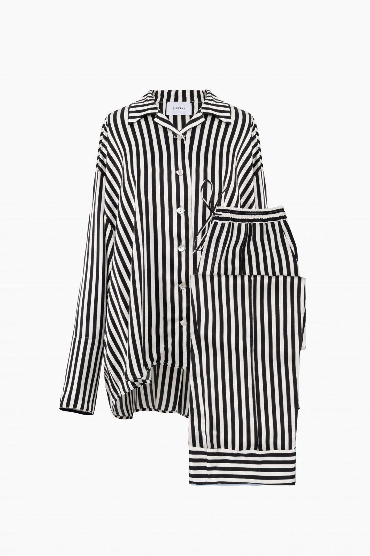Striped Sizeless Pajama Set with Pants
