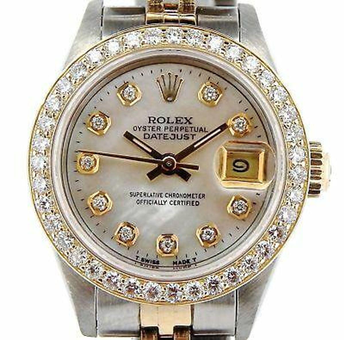 Datejust Ladies Yellow Gold & Steel Watch MOP Diamond Dial 1ct Bezel 69173
