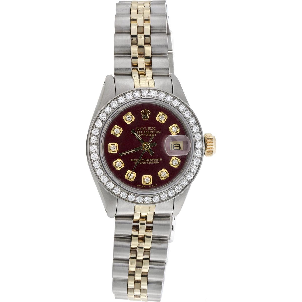 rolex ladies 6917 datejust jubilee 18k gold steel diamond watch red dial