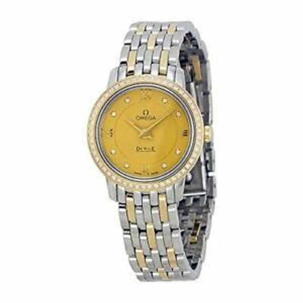 omega deville prestige quartz champagne dial ladies watch