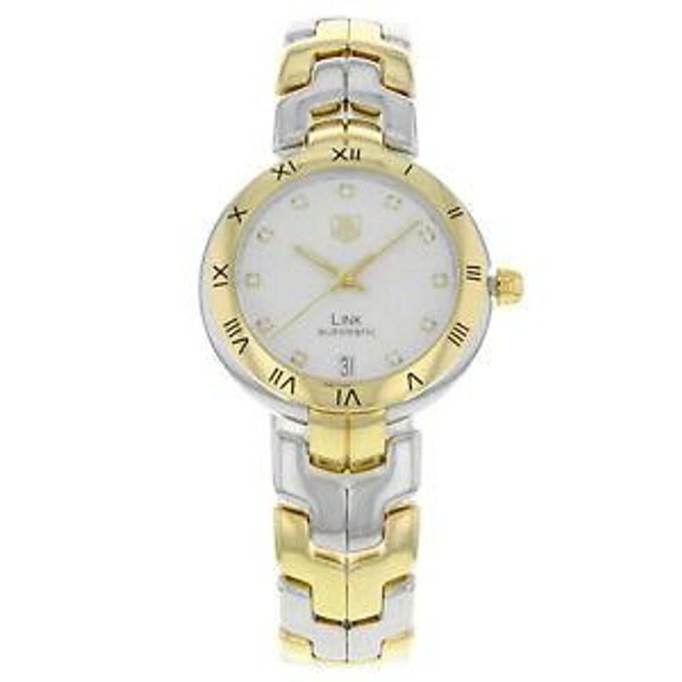 tag heuer link steel 18k yellow gold guilloche automatic watch