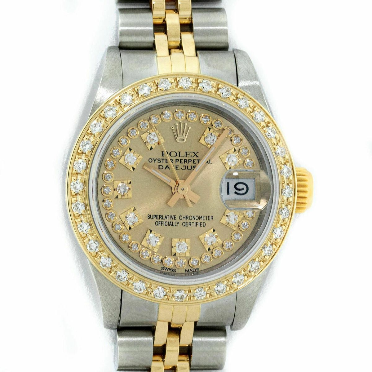 rolex datejust stainless steel and 18k yellow gold champagne diamond dial