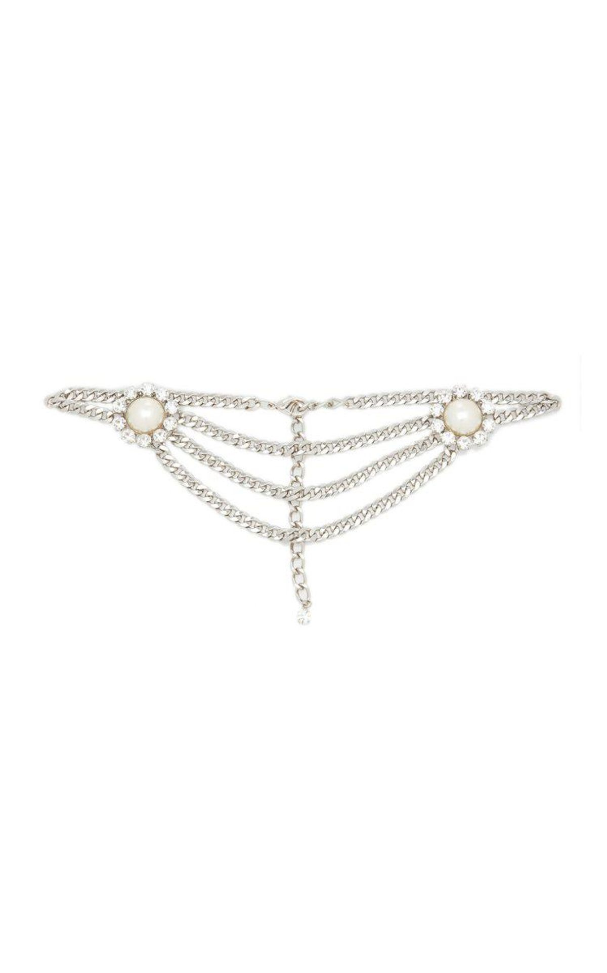 alessandra rich crystal and pearl embellished chain belt
