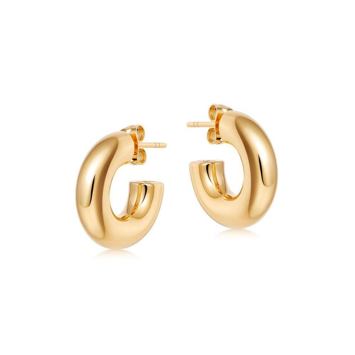 Gold Medium Chubby Hoop Earrings