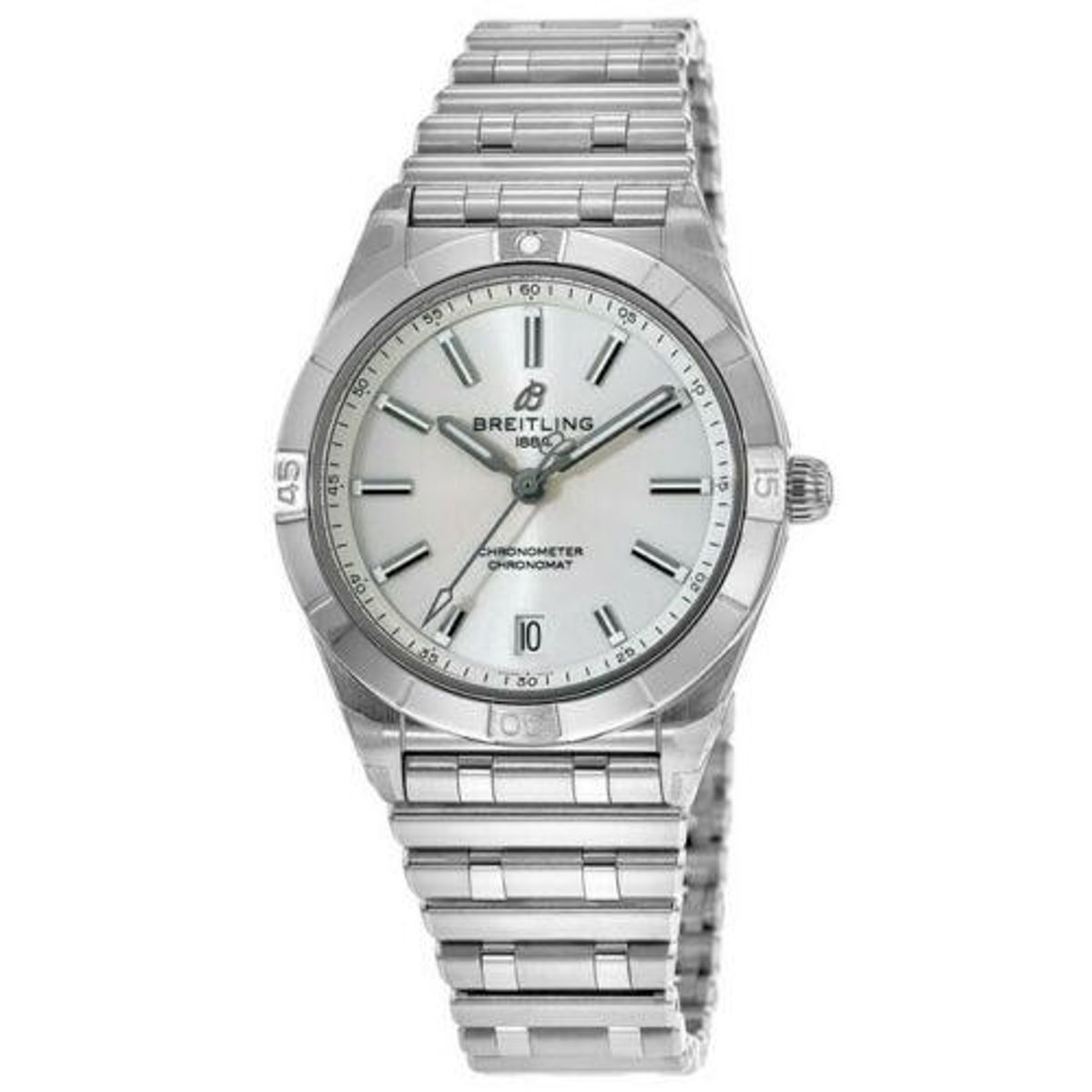 breitling chronomat automatic 36 silver dial womens watch