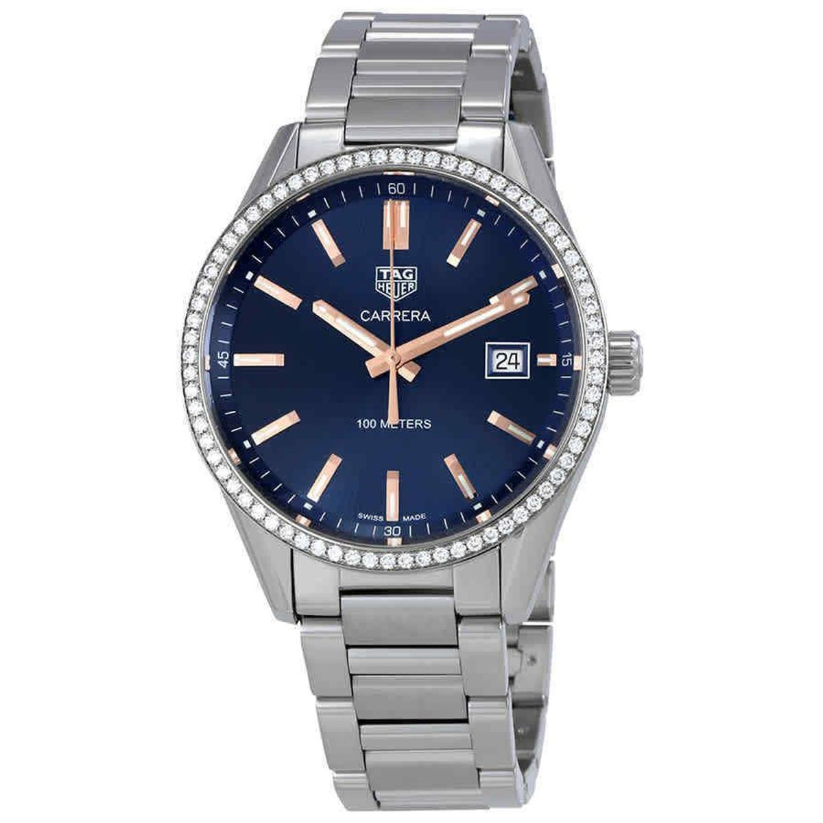 tag heuer carrera blue dial diamond ladies watch
