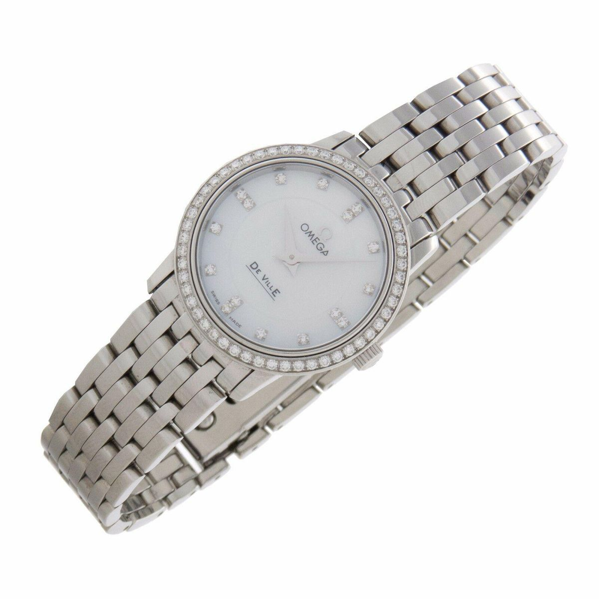 omega deville mop diamonds stainless swiss quartz ladies fine watch