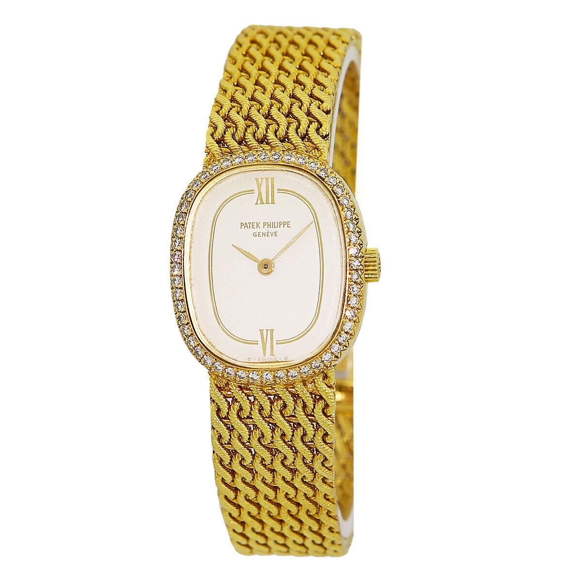 patek philippe lady 18k yellow gold diamond golden ellipse watch