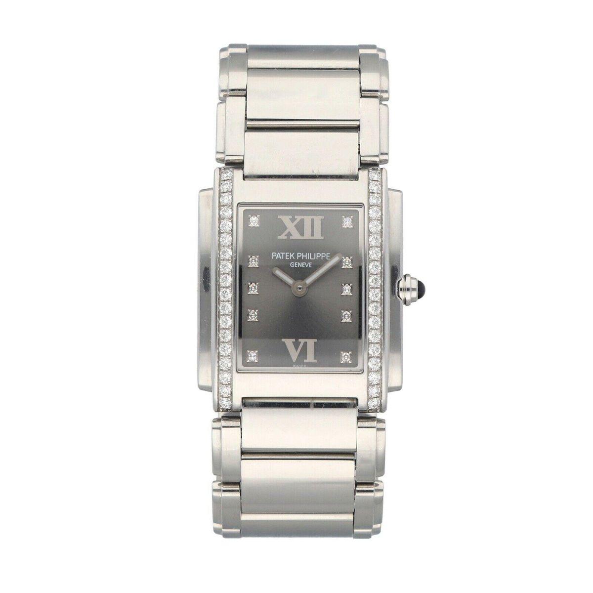 patek philippe 24 diamond stainless steel gray dial 25mm quartz ladies watch
