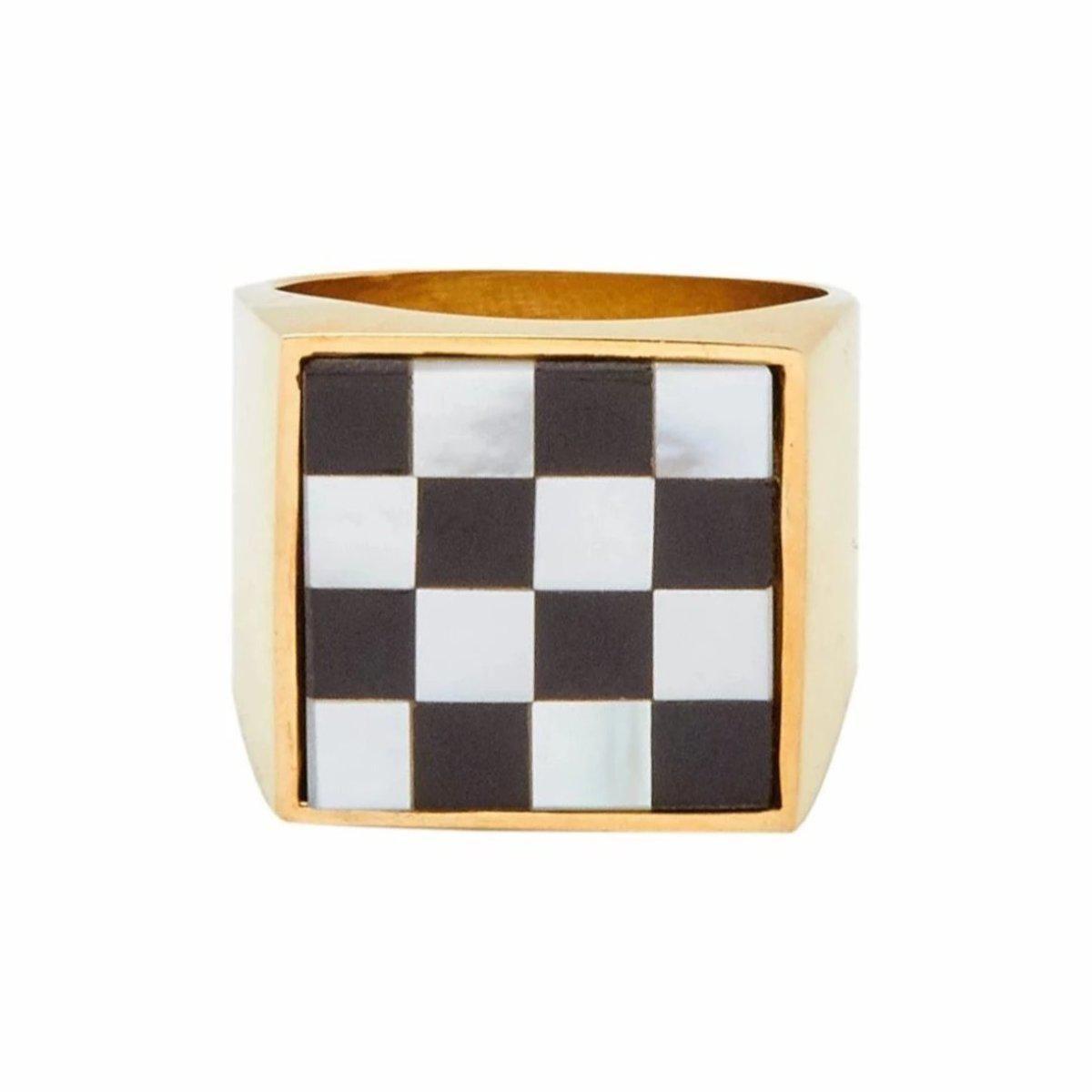 tarin thomas unisex checkered samuel ring