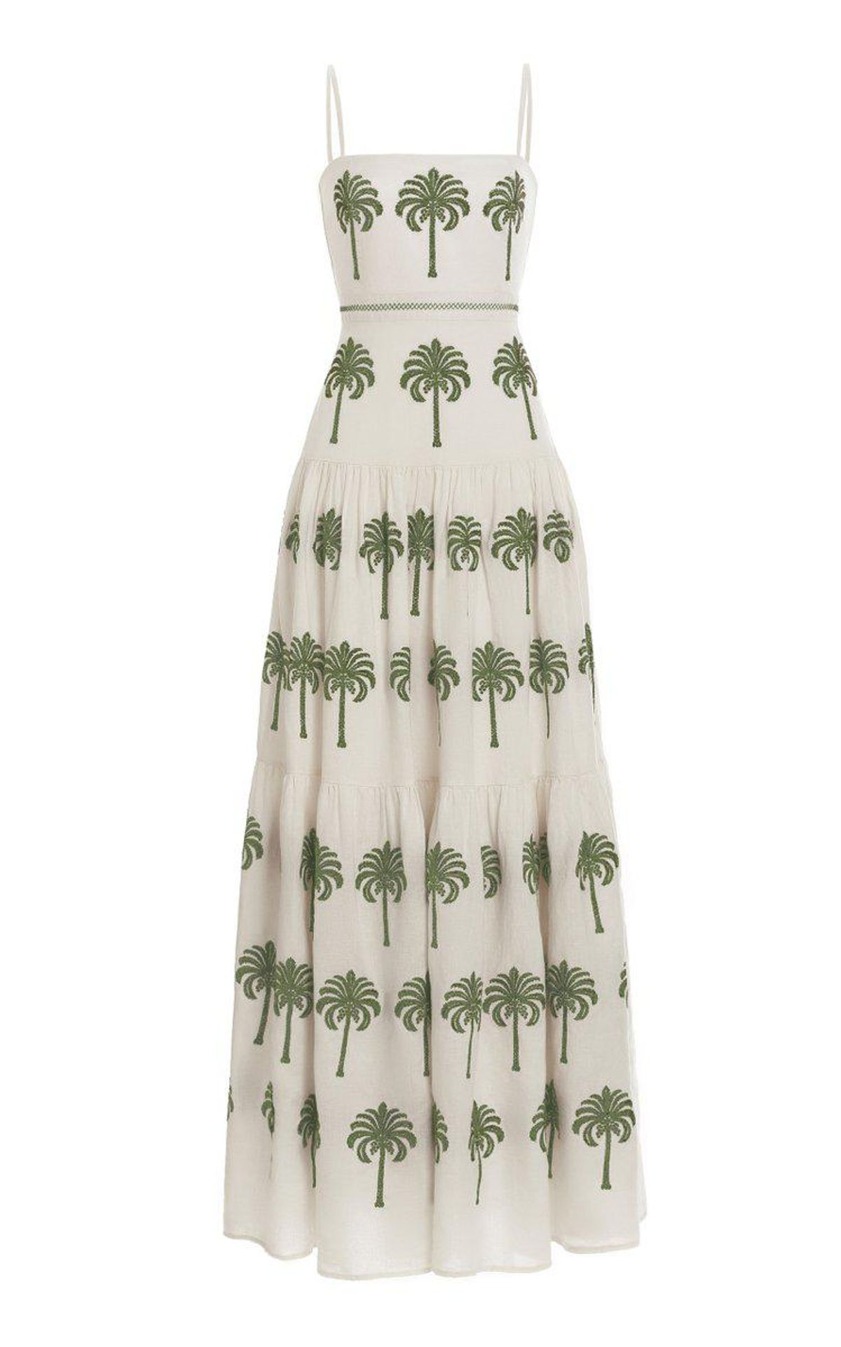 agua by agua bendita lima cocora hand embroidered linen maxi dress
