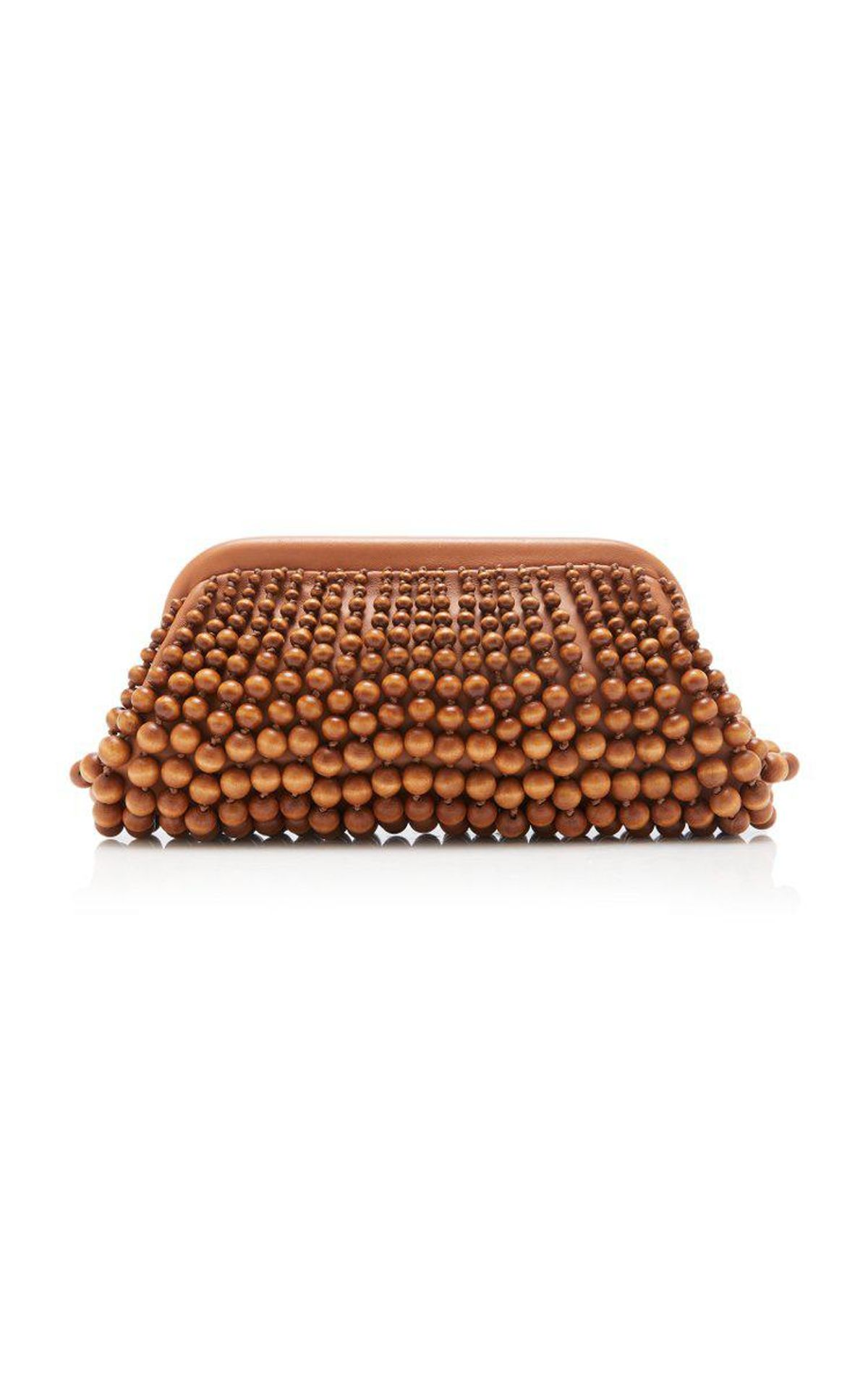 cult gaia nia beaded wood leather clutch