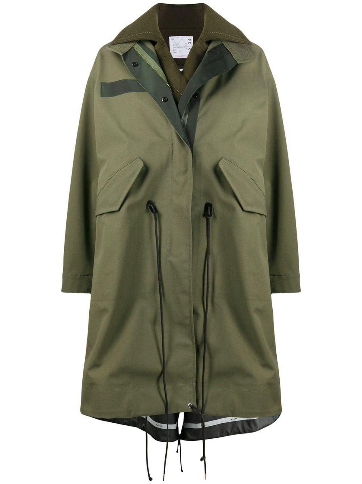 sacai oversized layered coat