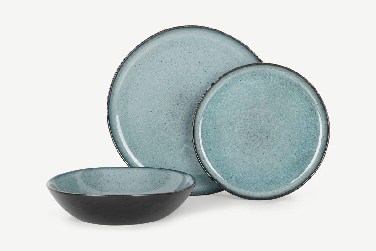 made krisha 12 piece reactive glaze dinner set
