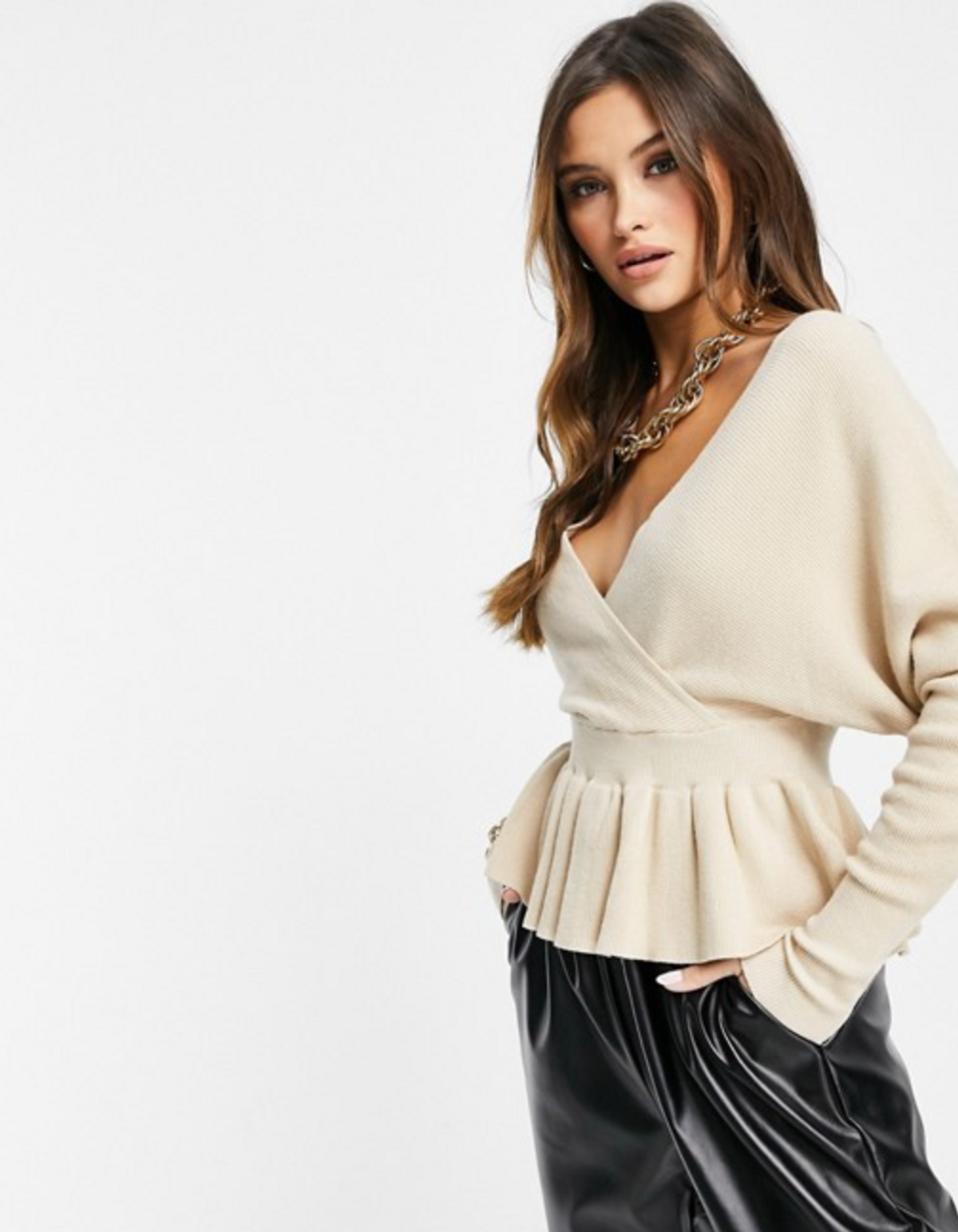 liquorish wrap front knitted top with frill