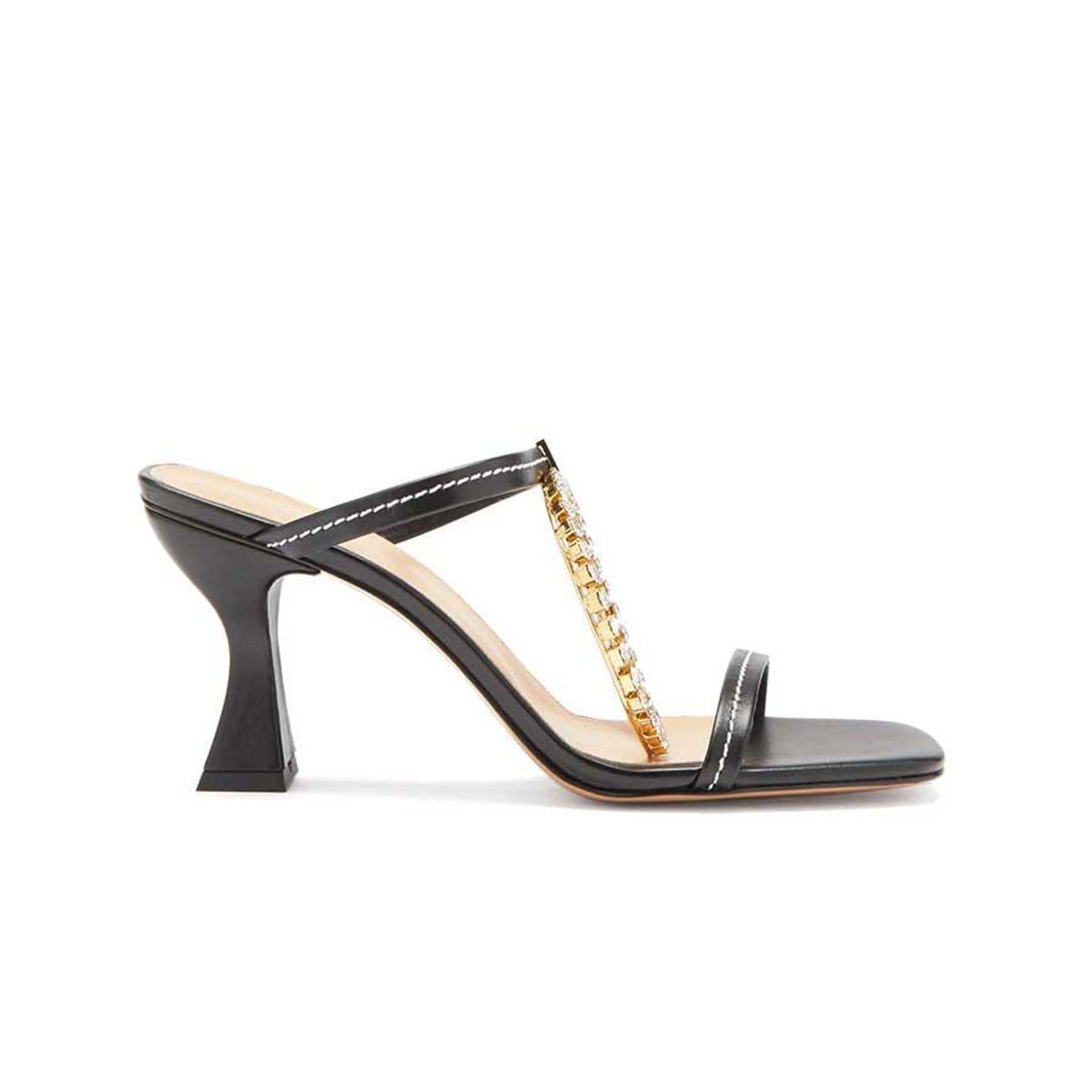 jw anderson crystal embellished square toe leather sandals