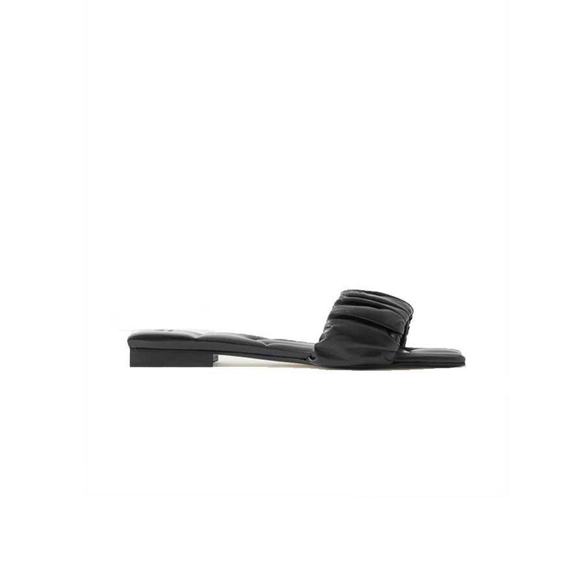 khaite crete ruched leather slides
