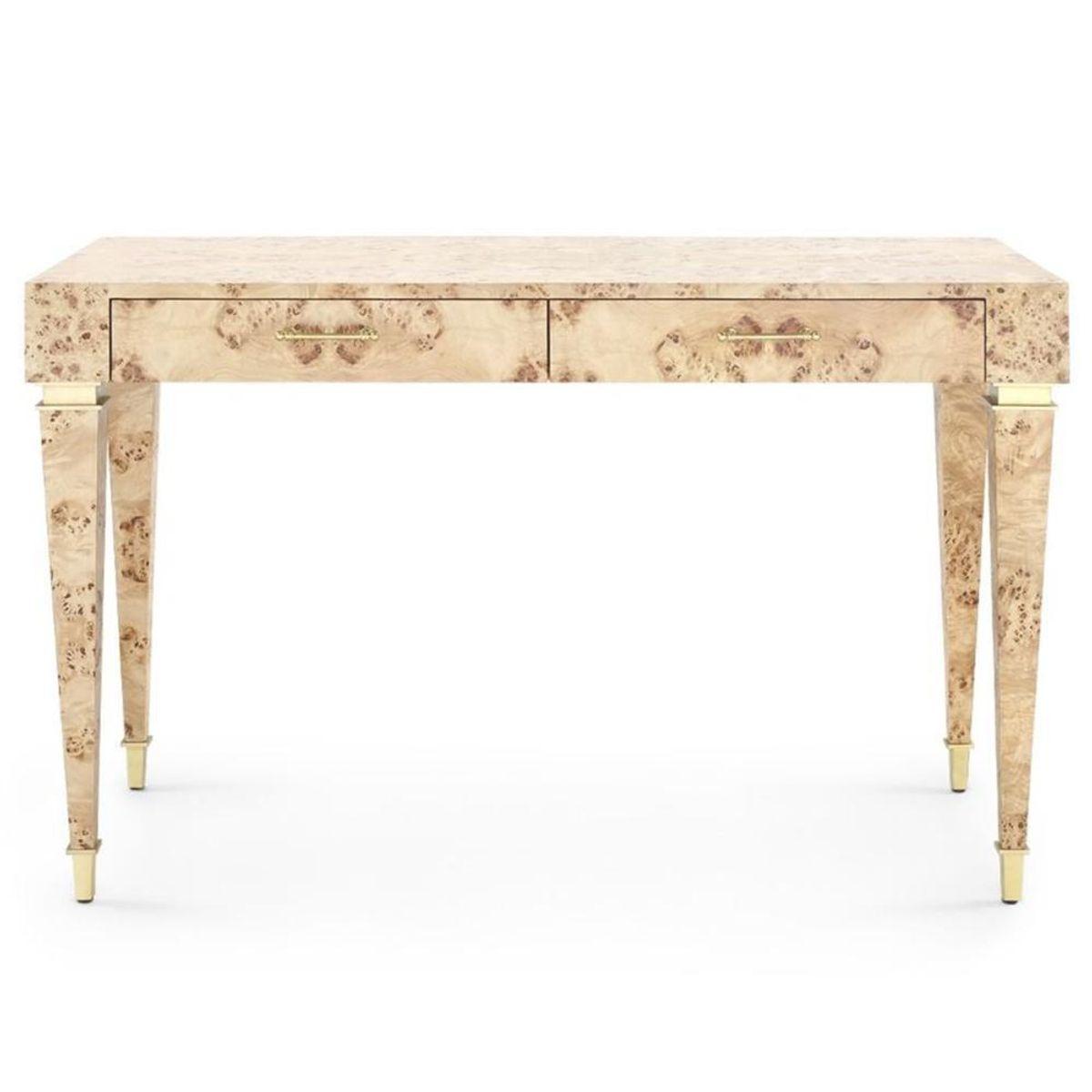 Helena Mid Century Modern Beige Burlwood Desk