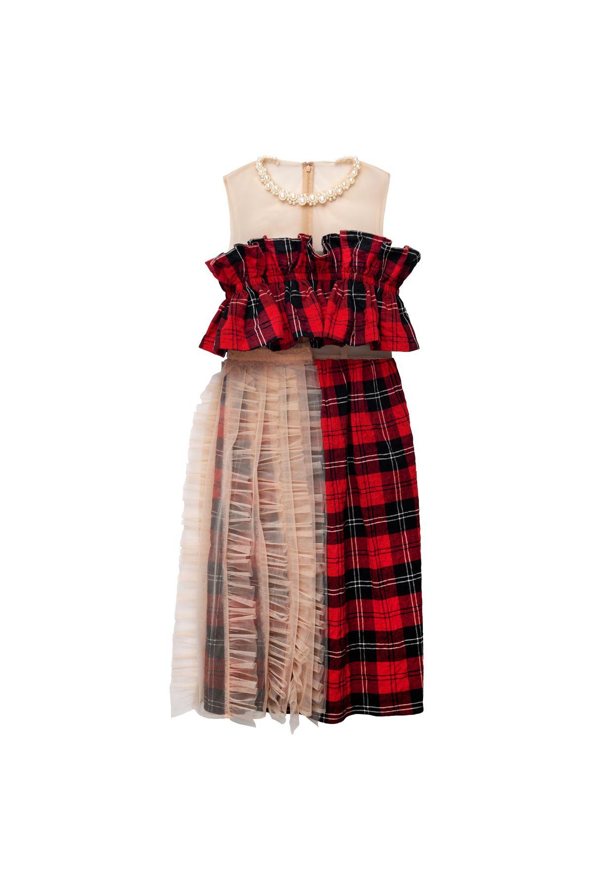 Tulle-Embellished Cotton Dress