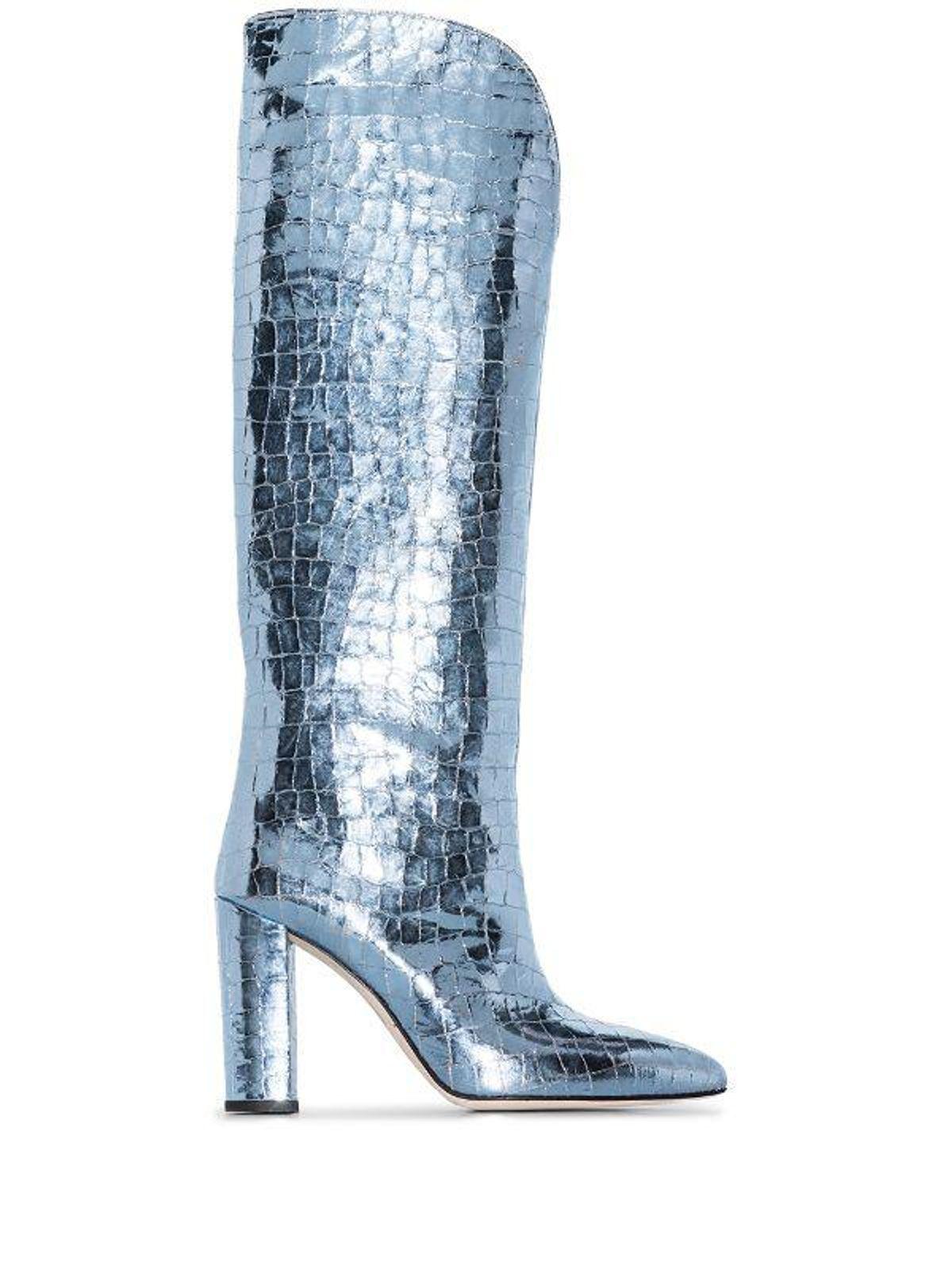 paris texas 100mm metallic crocodile effect boots