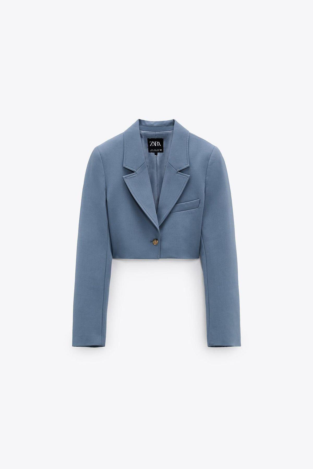 zara topstitched cropped blazer