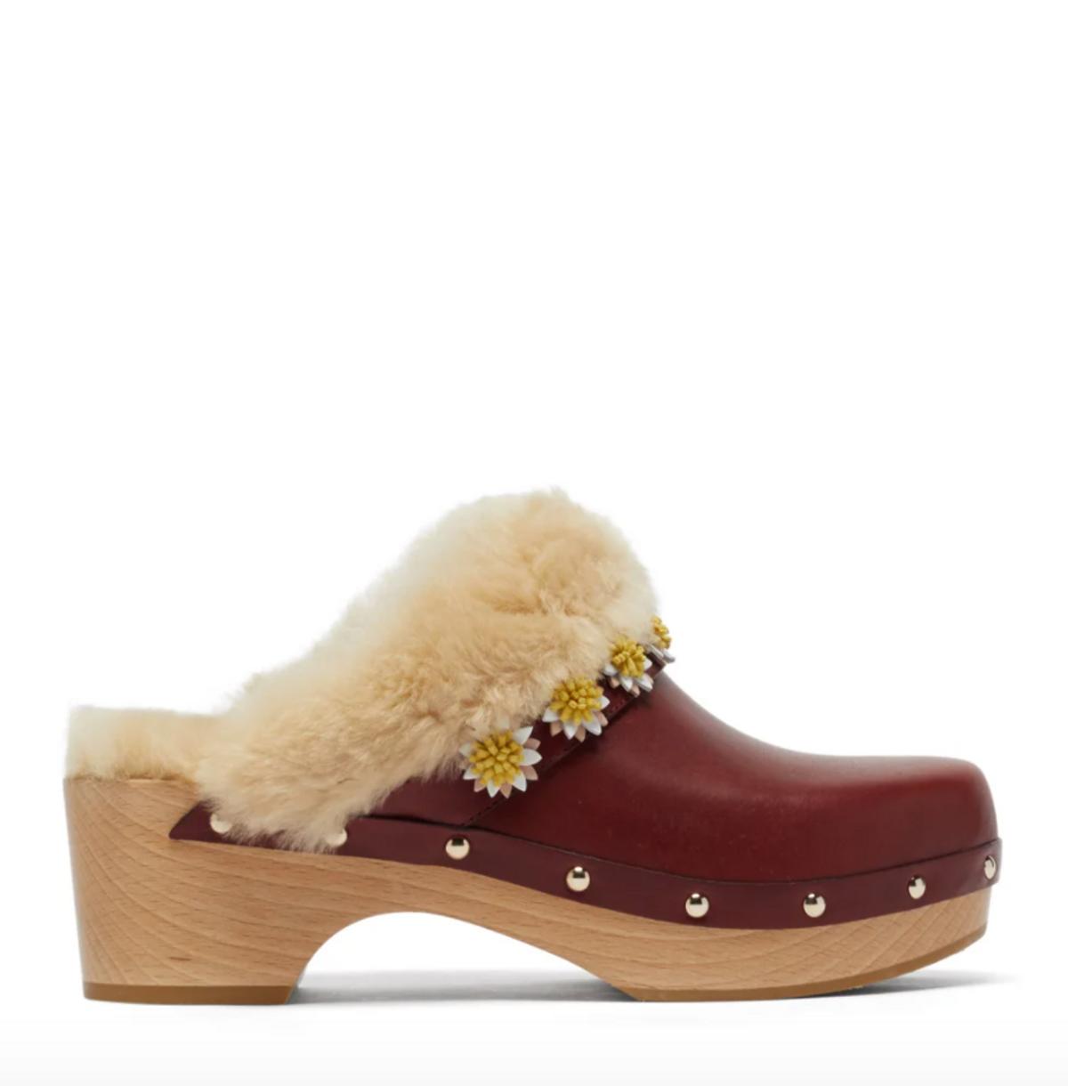 fabrizio vitti jean shearling lined leather clogs