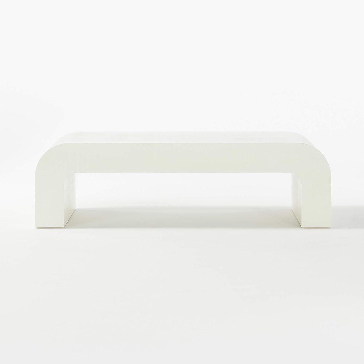 Horseshoe Ivory Lacquered Rectangular Coffee Table