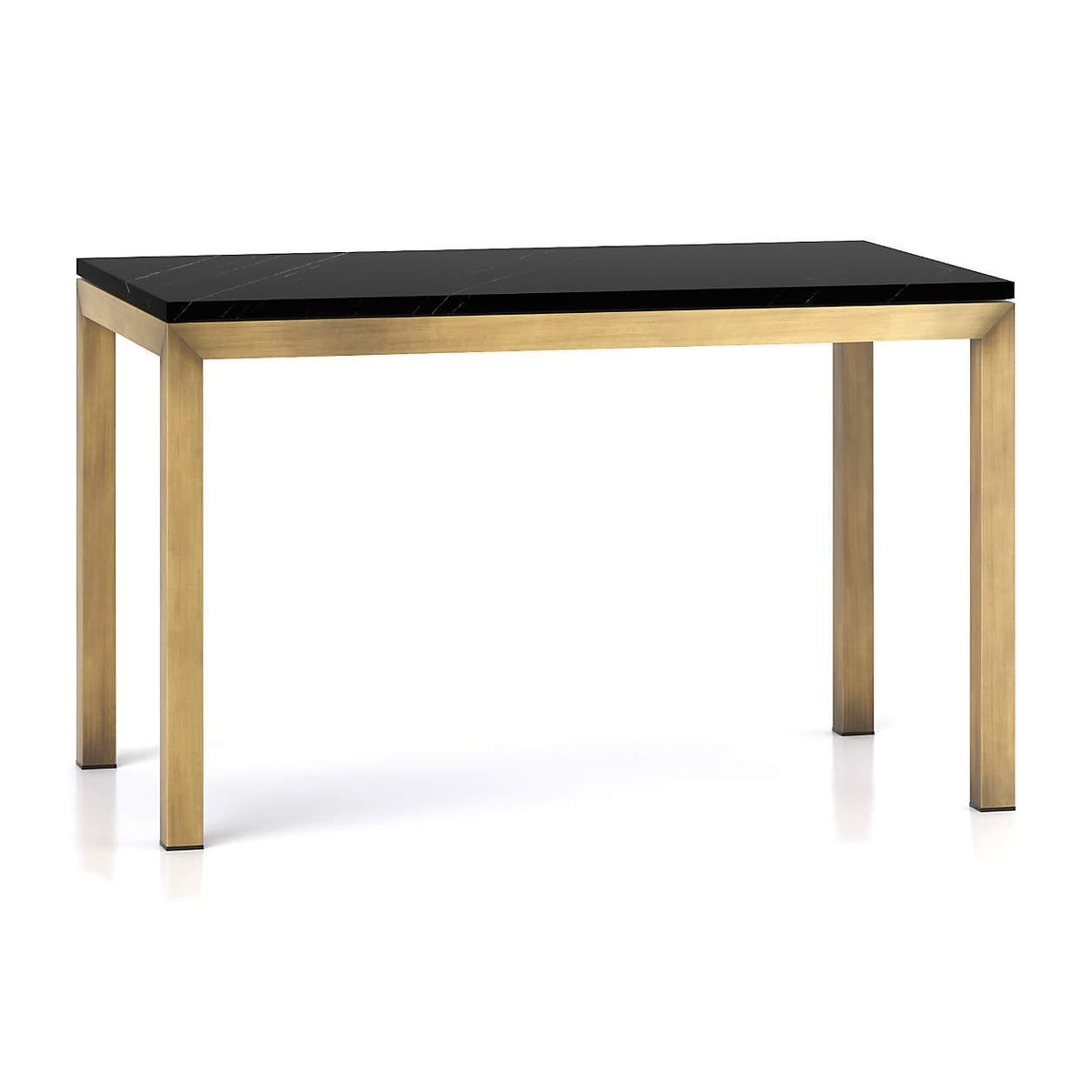 crate and barrel parsons black marble top brass base dining table