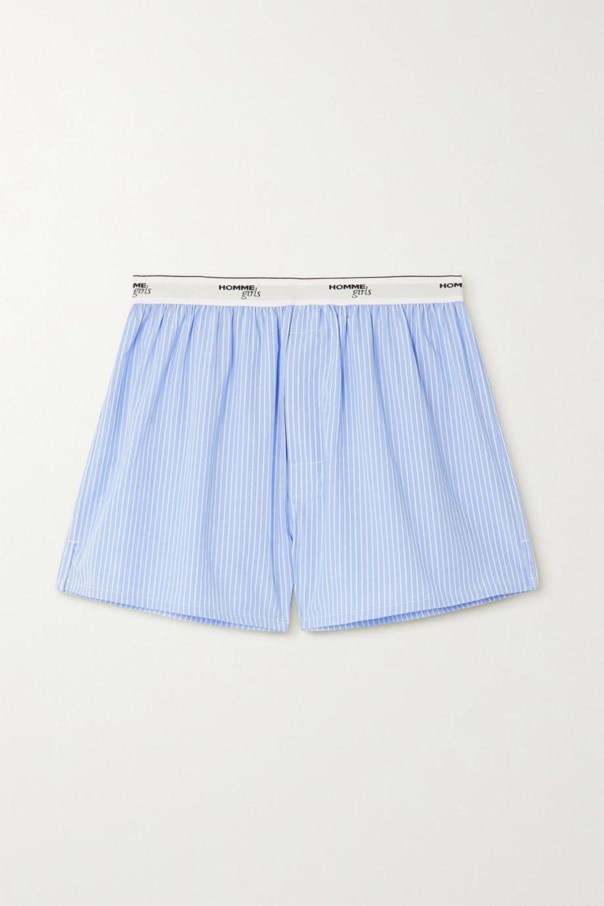hommegirls pinstriped cotton poplin shorts
