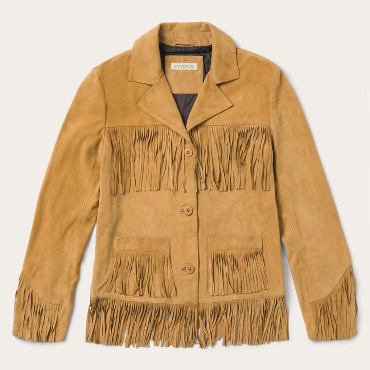 Women's Tan Fringe Suede Jacket