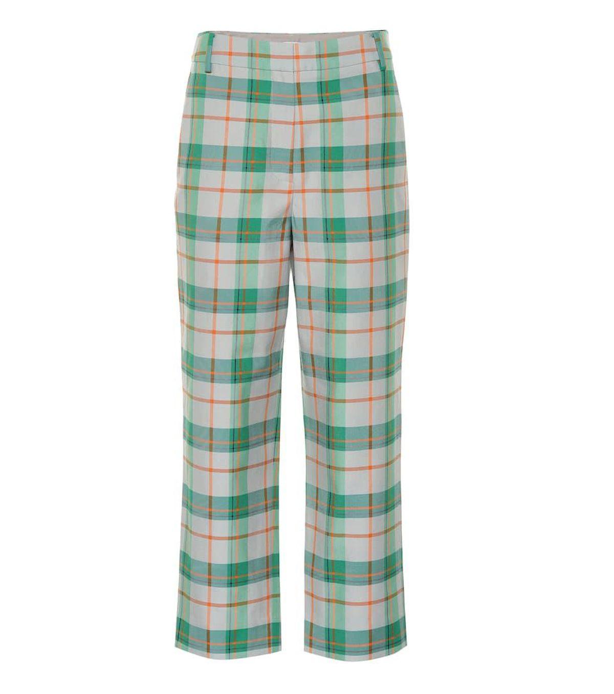Plaid Cotton Blend Pants
