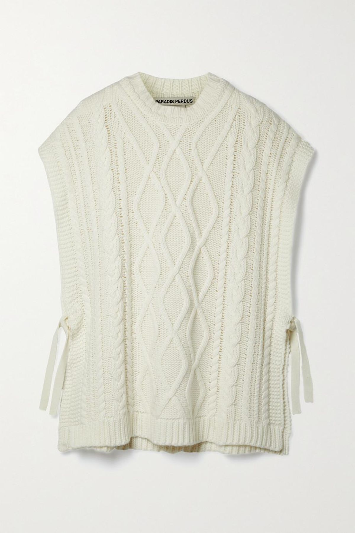 paradis perdus and net sustain vasco cable knit recycled merino wool blend poncho