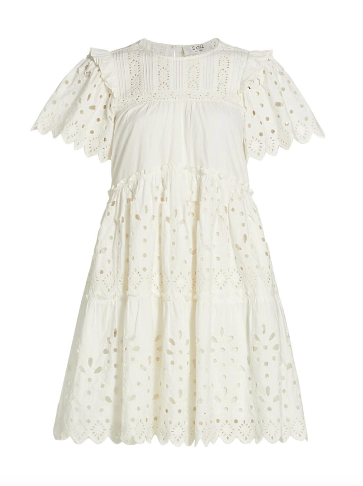Eyelet Tiered Mini Dress