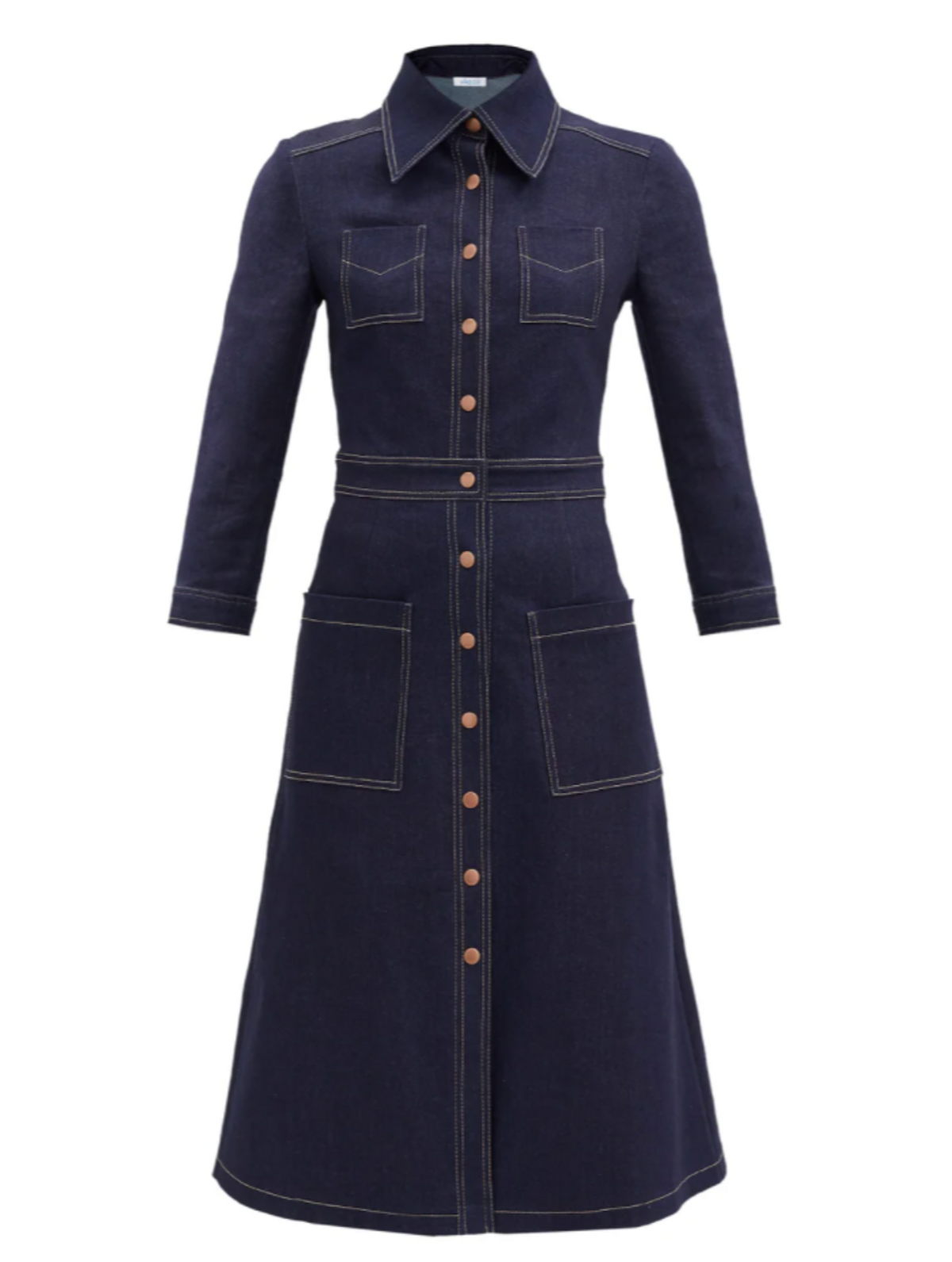 Cropped Sleeve Recycled Cotton Denim Dress