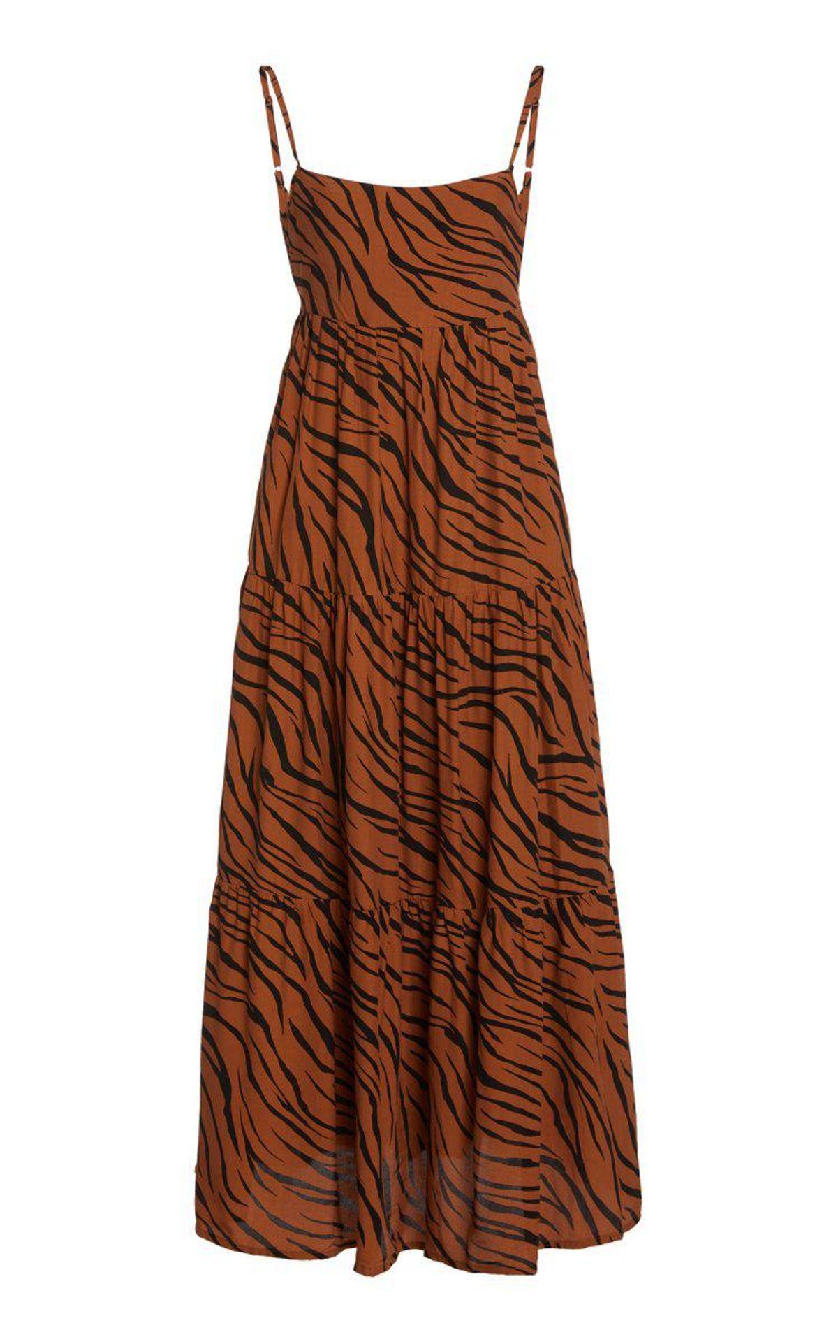 Corvina Tiger-Print Crepe Tiered Midi Dress