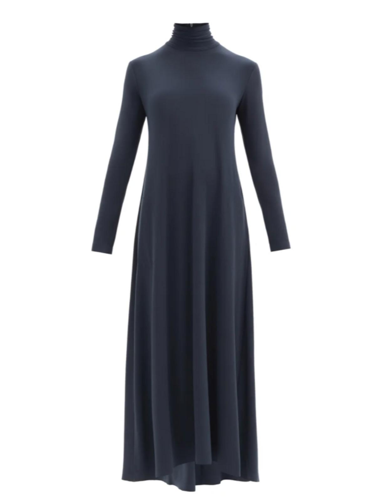 Swing Roll Neck Flared Longline Jersey Dress