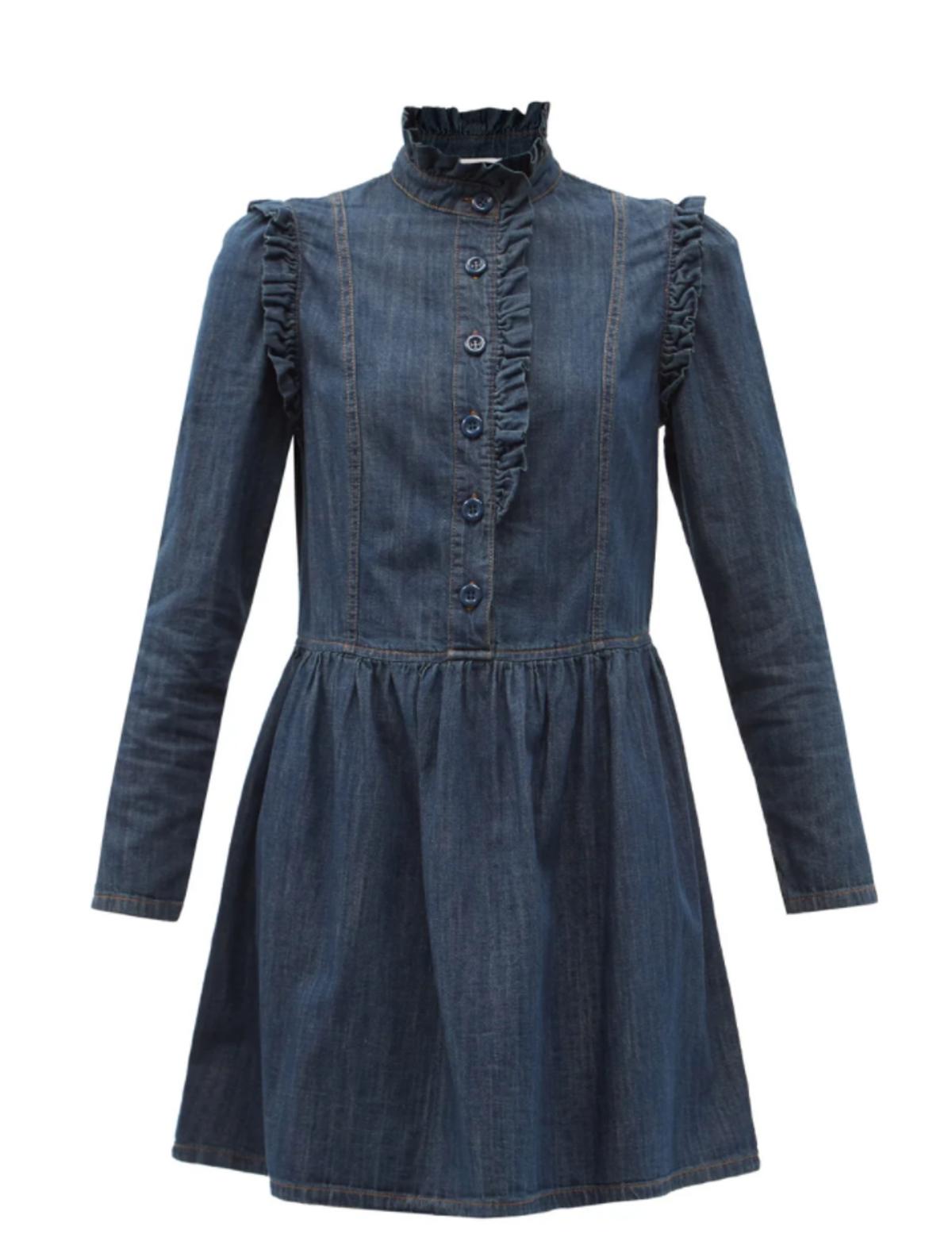 Ruffled Denim Mini Dress