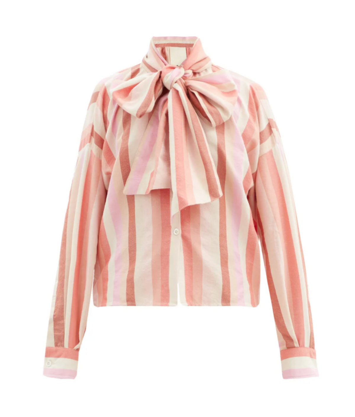 Bow-Front Striped Cotton Blend Oxford Shirt