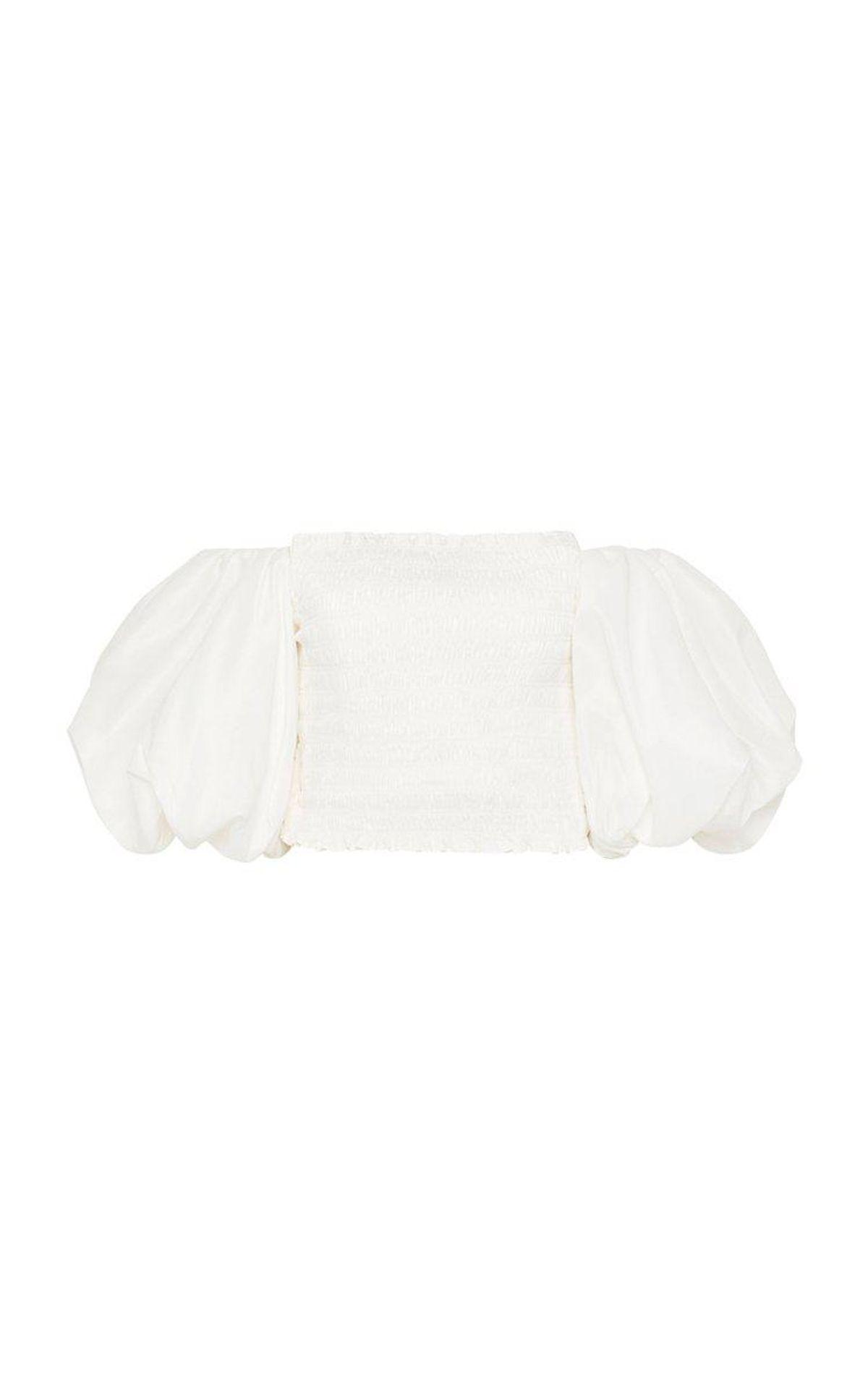 Cascade Puff Sleeve Smocked Cotton Crop Top