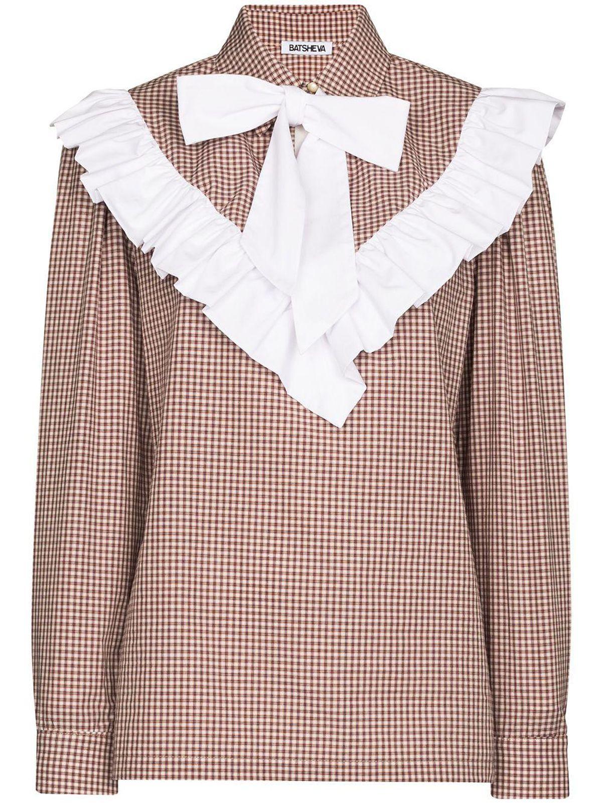 batsheva carol ruffled gingham bowtie blouse