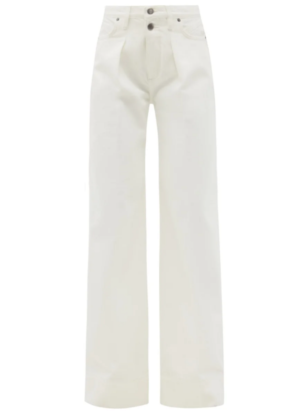 Mosaic High-Rise Pleated Wide-Leg Jeans