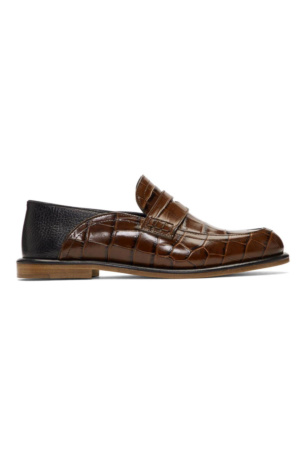 Brown Croc Slip-On Loafer