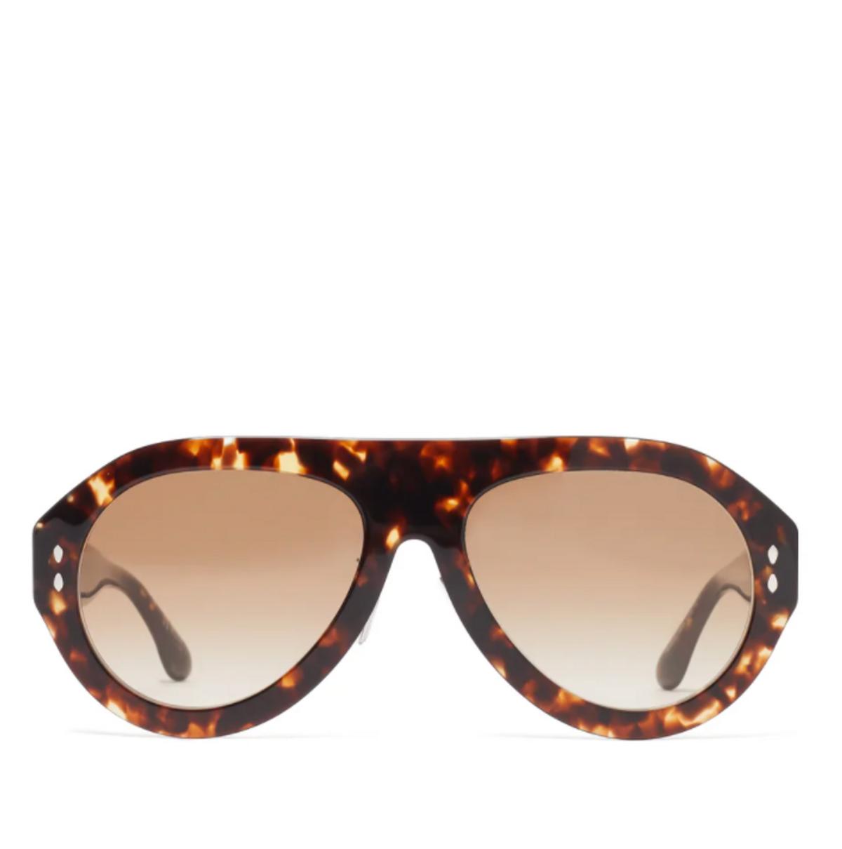 Trendy Aviator Tortoiseshell Acetate Sunglasses