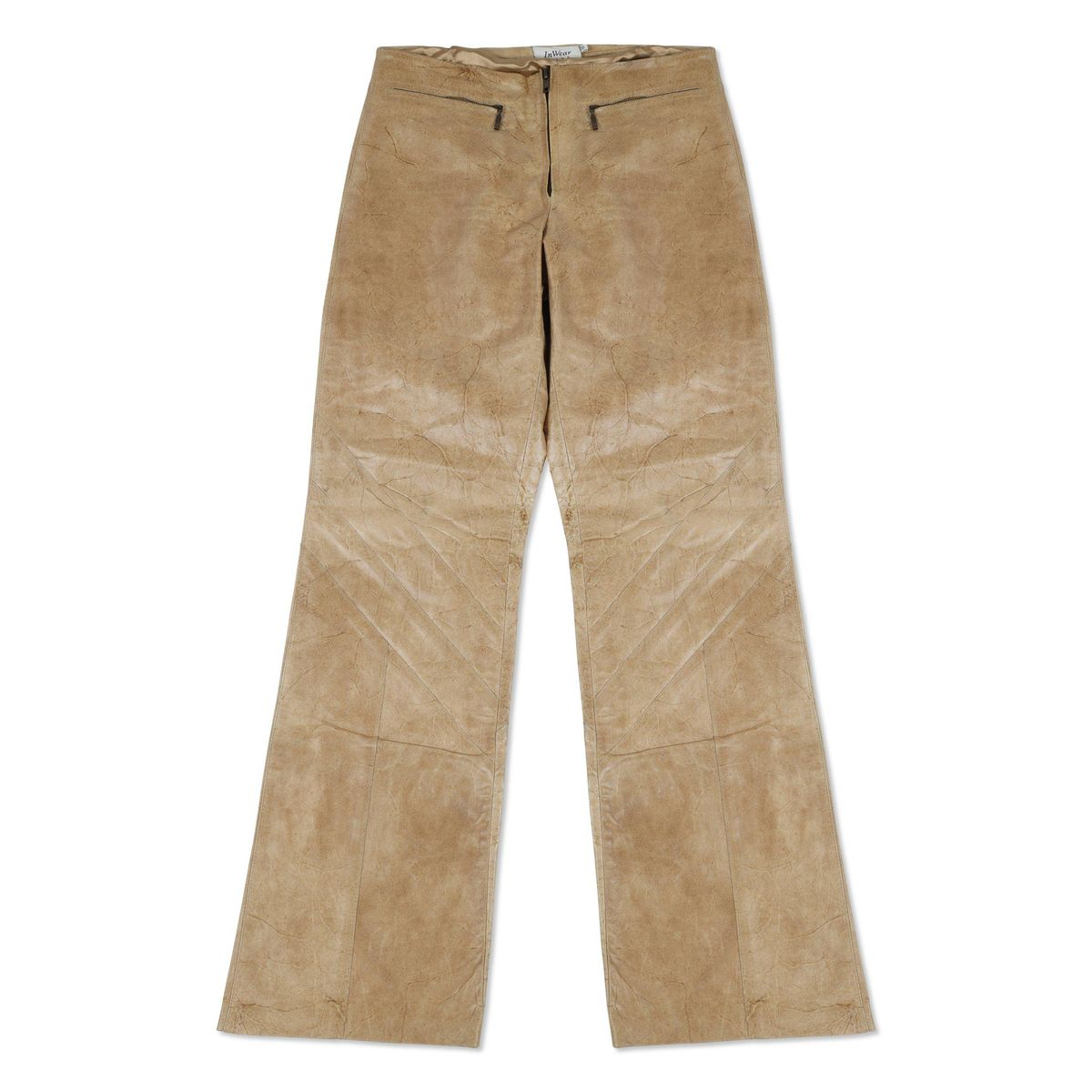 Vintage Brown Leather Pants with Zipper