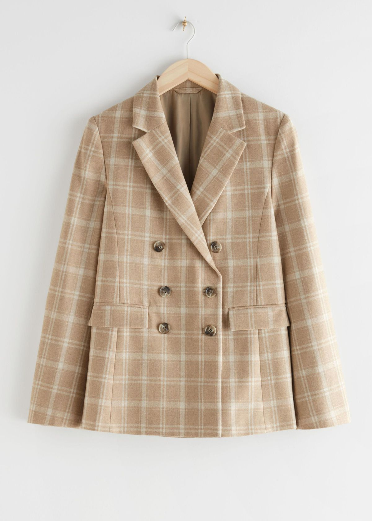 Wool Blend Plaid Blazer