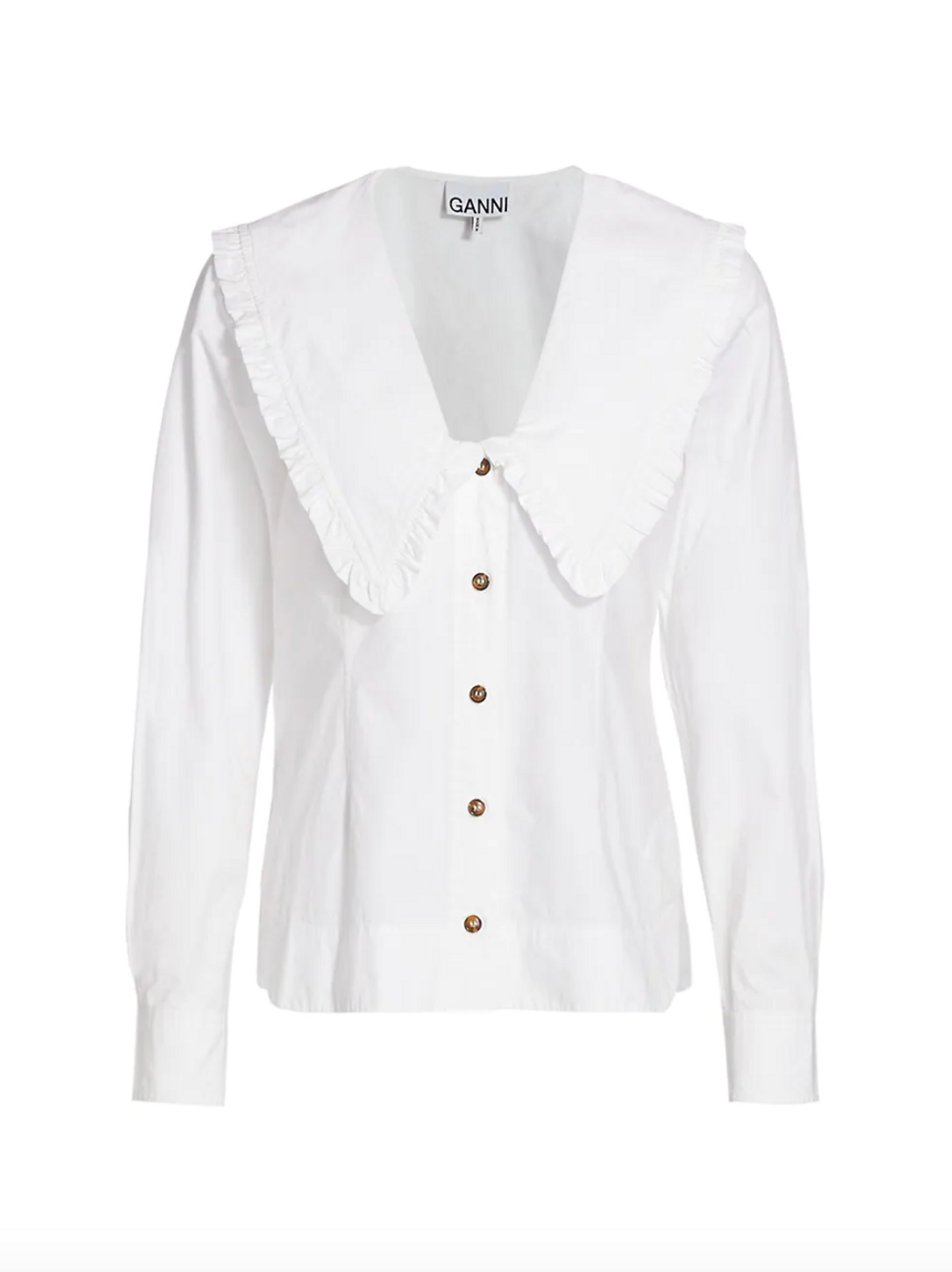 White Poplin V-Neck Shirt