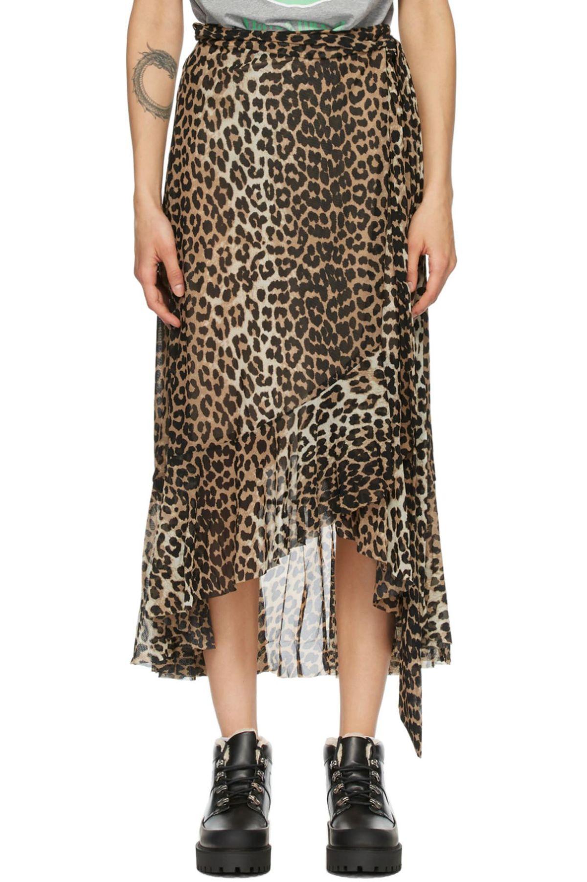 Printed Mesh Wrap Skirt