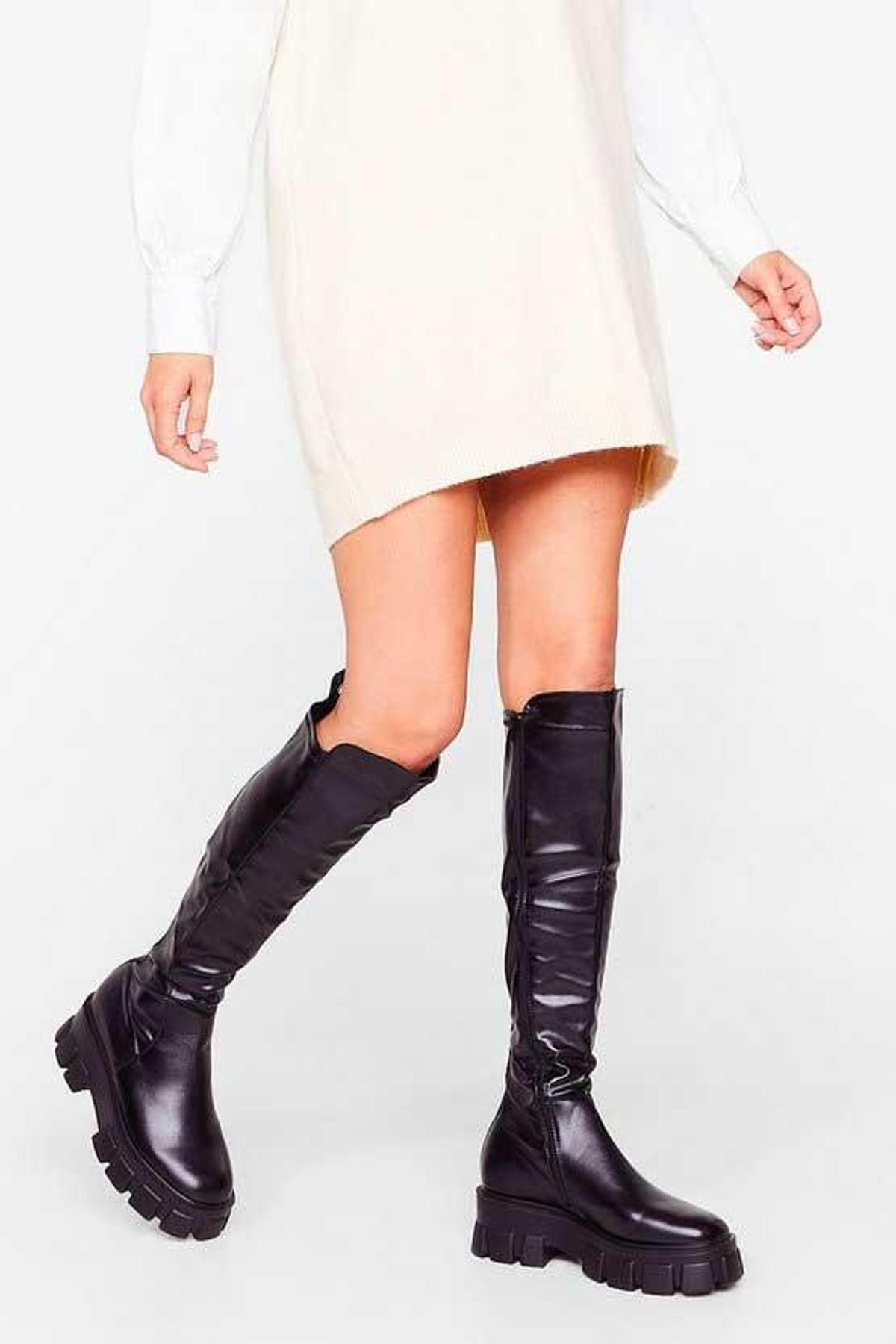 nasty gal faux leather chunky flat knee high boots