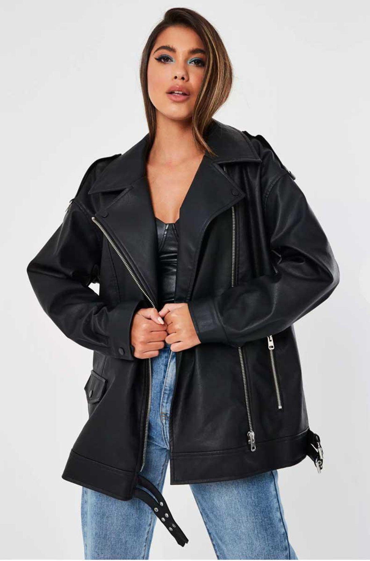 missguided oversized black faux leather long vintage biker jacket